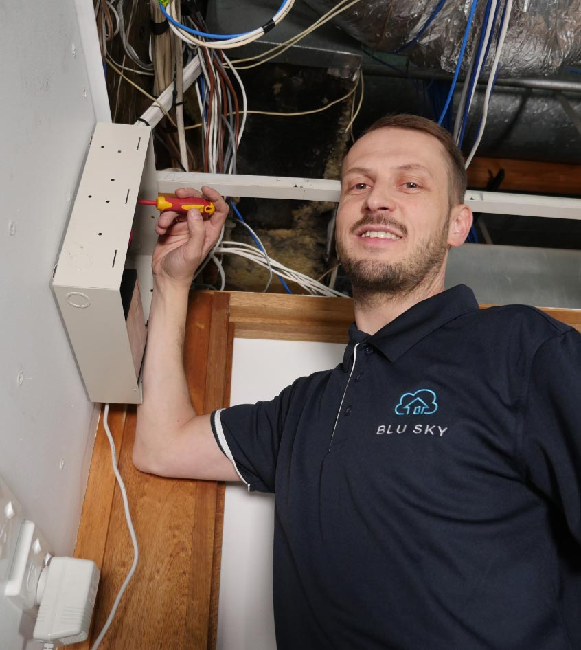 man installing home security alarm systems